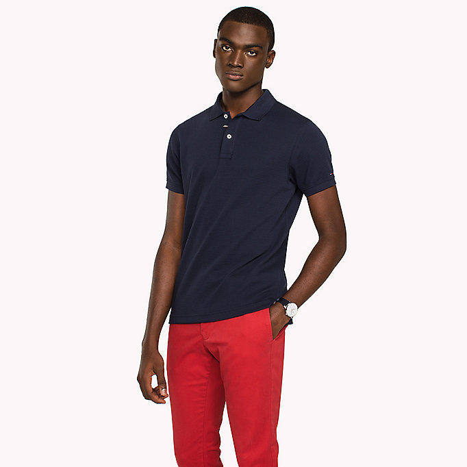 TOMMY HILFIGER Ribbed Slim Fit Polo - DUTCH BLUE - TOMMY HILFIGER Men - main image