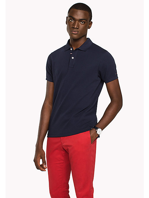 TOMMY HILFIGER Ribbed Slim Fit Polo - NAVY BLAZER - TOMMY HILFIGER New arrivals - main image