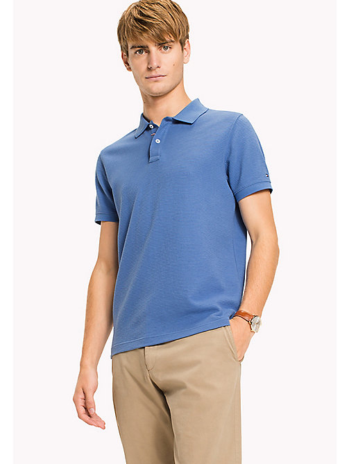 TOMMY HILFIGER Ribbed Slim Fit Polo - DUTCH BLUE - TOMMY HILFIGER Polo Shirts - main image