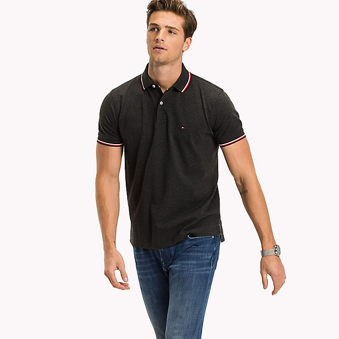 TOMMY HILFIGER Tipped Regular Fit Polo - RHUBARB - TOMMY HILFIGER Men - main image