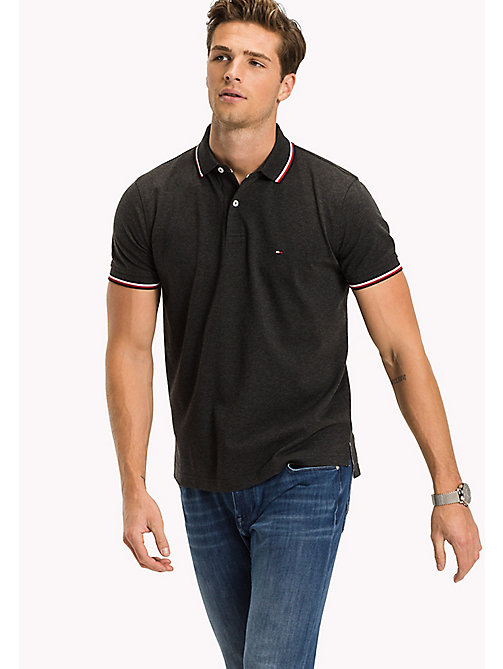 TOMMY HILFIGER Tipped Regular Fit Polo - CHARCOAL HEATHER - TOMMY HILFIGER Polo Shirts - main image