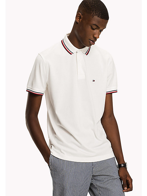 TOMMY HILFIGER Tipped Regular Fit Polo - SNOW WHITE - TOMMY HILFIGER Polo Shirts - main image