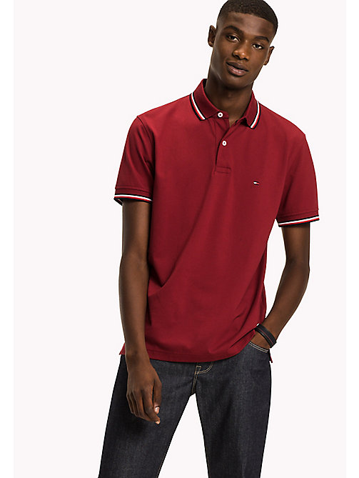 TOMMY HILFIGER Tipped Regular Fit Polo - RHUBARB - TOMMY HILFIGER Polo Shirts - main image