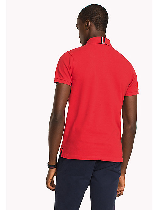 TOMMY HILFIGER Badge Slim Fit Polo Shirt - HAUTE RED - TOMMY HILFIGER Polo Shirts - detail image 1