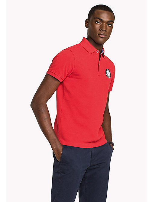 TOMMY HILFIGER Badge Slim Fit Polo Shirt - HAUTE RED - TOMMY HILFIGER Polo Shirts - main image
