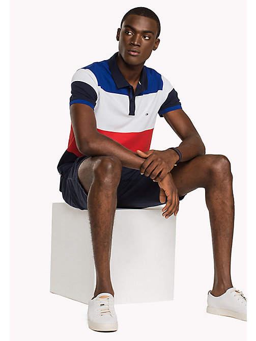 TOMMY HILFIGER Colour-Blocked Slim Fit Polo Shirt - NAVY BLAZER/MULTI - TOMMY HILFIGER Polo Shirts - main image