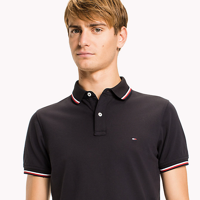 TOMMY HILFIGER Tipped Slim Fit Polo - HAUTE RED - TOMMY HILFIGER Clothing - detail image 2