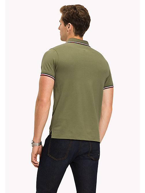 TOMMY HILFIGER Tipped Slim Fit Polo - FOUR LEAF CLOVER - TOMMY HILFIGER Poloshirts - main image 1