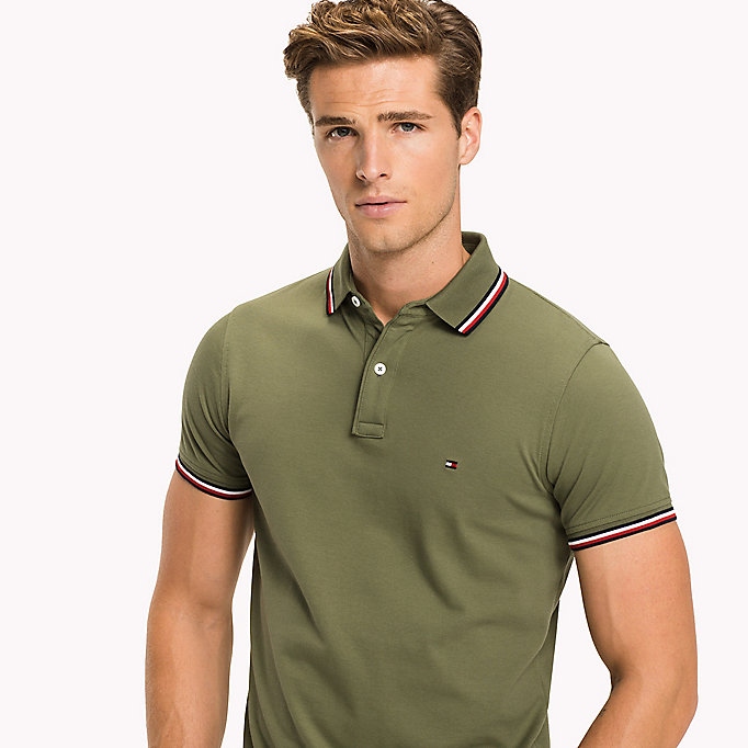 TOMMY HILFIGER Tipped Slim Fit Polo - JET BLACK - TOMMY HILFIGER Clothing - detail image 2