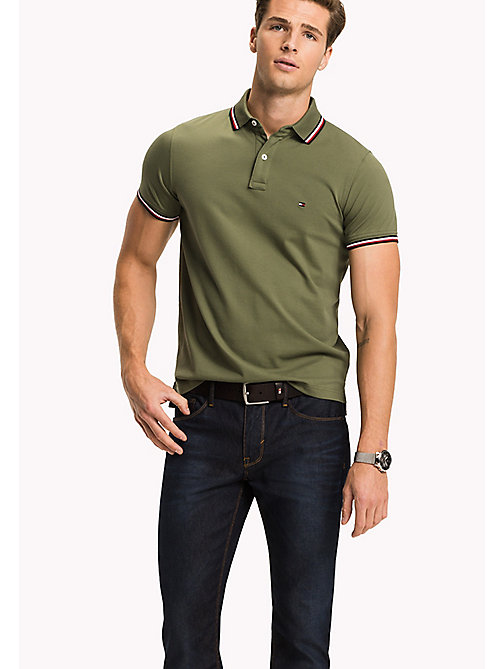 TOMMY HILFIGER Tipped Slim Fit Polo - FOUR LEAF CLOVER - TOMMY HILFIGER Poloshirts - main image