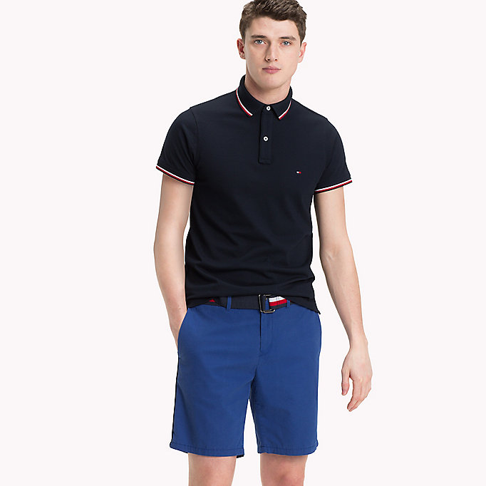 TOMMY HILFIGER Tipped Slim Fit Polo - FOUR LEAF CLOVER - TOMMY HILFIGER Clothing - main image