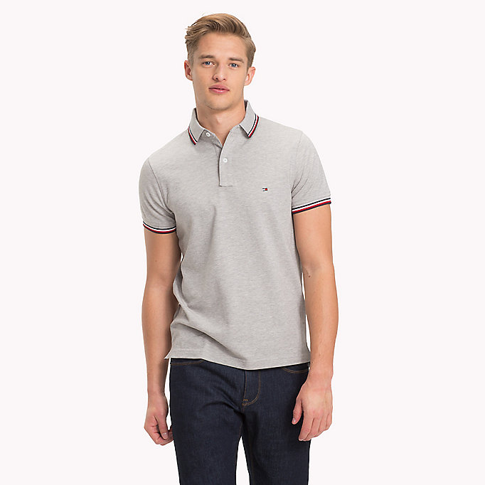 TOMMY HILFIGER Tipped Slim Fit Polo - BRIGHT WHITE - TOMMY HILFIGER Clothing - main image