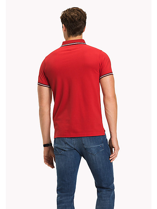 TOMMY HILFIGER Tipped Slim Fit Polo - HAUTE RED - TOMMY HILFIGER Poloshirts - main image 1