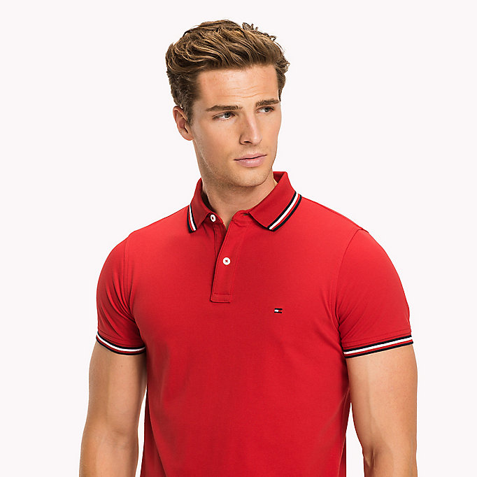 TOMMY HILFIGER Tipped Slim Fit Polo - CLOUD HTR - TOMMY HILFIGER Clothing - detail image 2