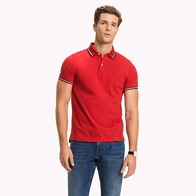 TOMMY HILFIGER Tipped Slim Fit Polo - CLOUD HTR - TOMMY HILFIGER Clothing - main image