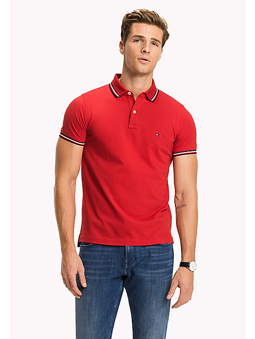 TOMMY HILFIGER Tipped Slim Fit Polo - HAUTE RED - TOMMY HILFIGER Poloshirts - main image