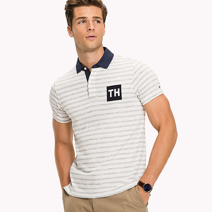 TOMMY HILFIGER Stripe Slim Fit Polo - NAVY BLAZER / SNOW WHITE - TOMMY HILFIGER Men - detail image 2