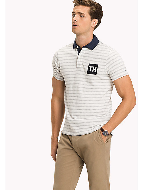 TOMMY HILFIGER Stripe Slim Fit Polo - SNOW WHITE / NAVY BLAZER - TOMMY HILFIGER New arrivals - main image