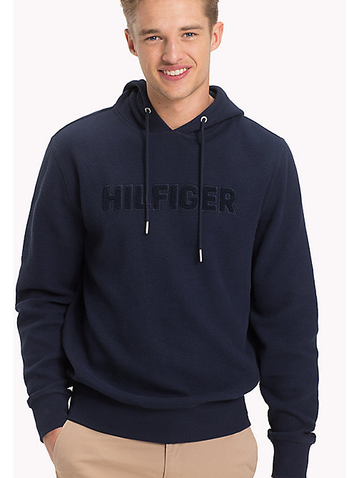 TOMMY HILFIGER Jacquard Logo Drawstring Hoodie - NAVY BLAZER - TOMMY HILFIGER Clothing - main image