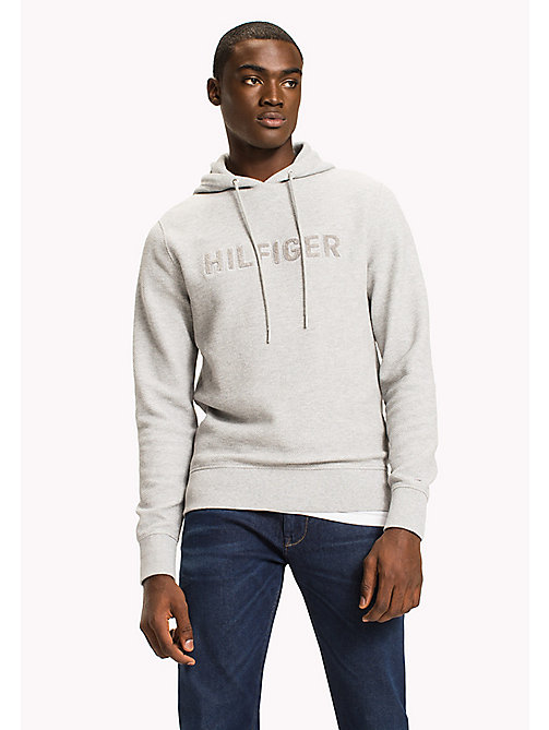 TOMMY HILFIGER Jacquard Logo Drawstring Hoodie - CLOUD HTR - TOMMY HILFIGER Clothing - main image