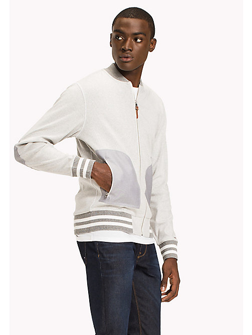 TOMMY HILFIGER Ribbed Cotton Bomber Jacket - CLOUD HTR - TOMMY HILFIGER Sweatshirts & Hoodies - main image