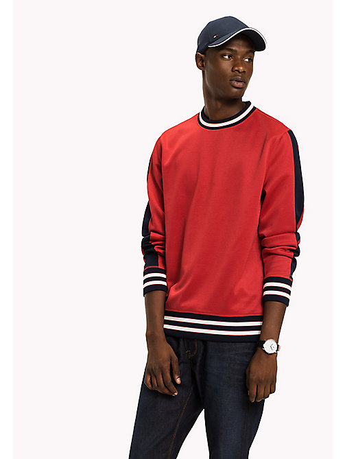 TOMMY HILFIGER Tipped Crew Neck Sweatshirt - HAUTE RED - TOMMY HILFIGER Clothing - main image