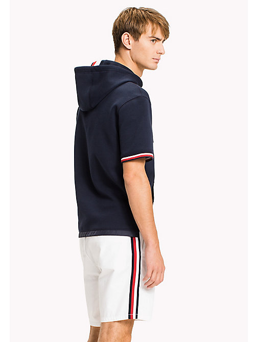 TOMMY HILFIGER Short Sleeve Polo Hoodie - NAVY BLAZER - TOMMY HILFIGER Clothing - detail image 1