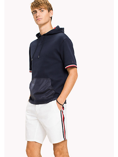 TOMMY HILFIGER Short Sleeve Polo Hoodie - NAVY BLAZER - TOMMY HILFIGER Clothing - main image