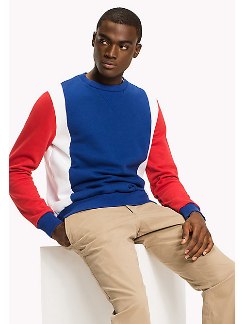 TOMMY HILFIGER Colour-Blocked Sweatshirt - HAUTE RED / MULTI - TOMMY HILFIGER Clothing - main image