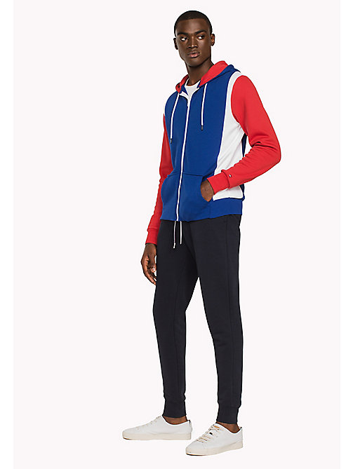 TOMMY HILFIGER Stripe Zip-Thru Hoodie - BRIGHT WHITE / MULTI - TOMMY HILFIGER Clothing - main image