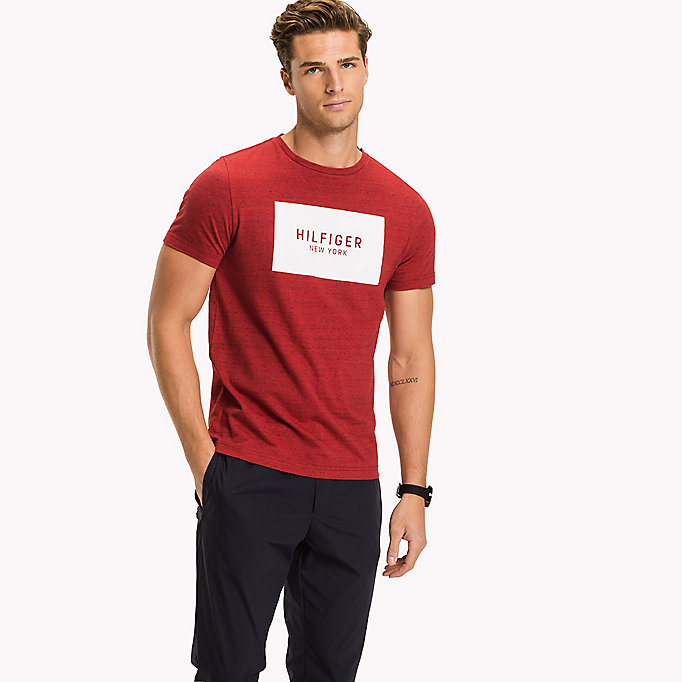 TOMMY HILFIGER Regular Fit Logo T-Shirt - MAGNET HTR - TOMMY HILFIGER Men - main image