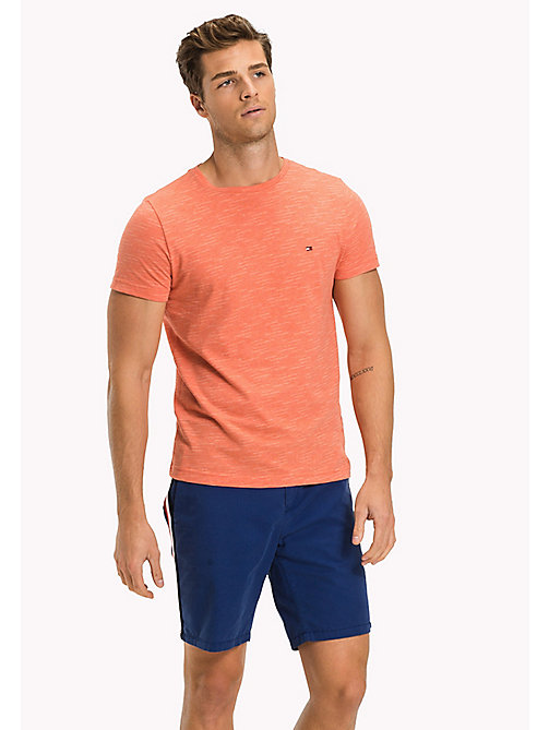 Heathered Regular Fit T-Shirt - HOT CORAL HEATHER - TOMMY HILFIGER Clothing - main image