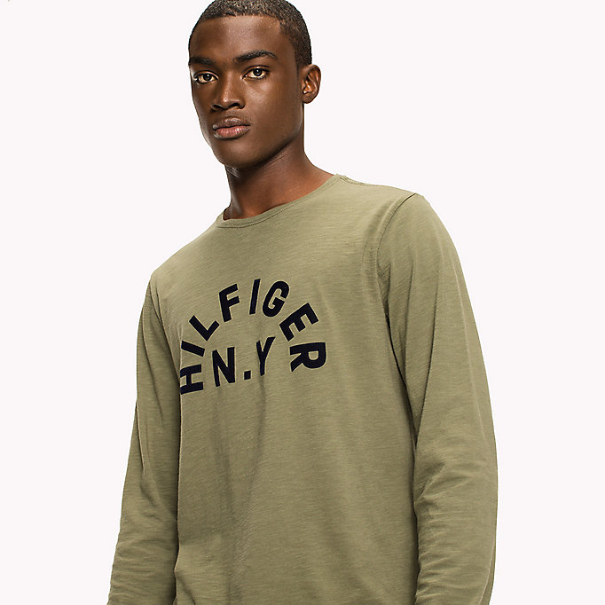 TOMMY HILFIGER Logo Print Long-Sleeved T-Shirt - CLOUD HTR - TOMMY HILFIGER Men - detail image 2