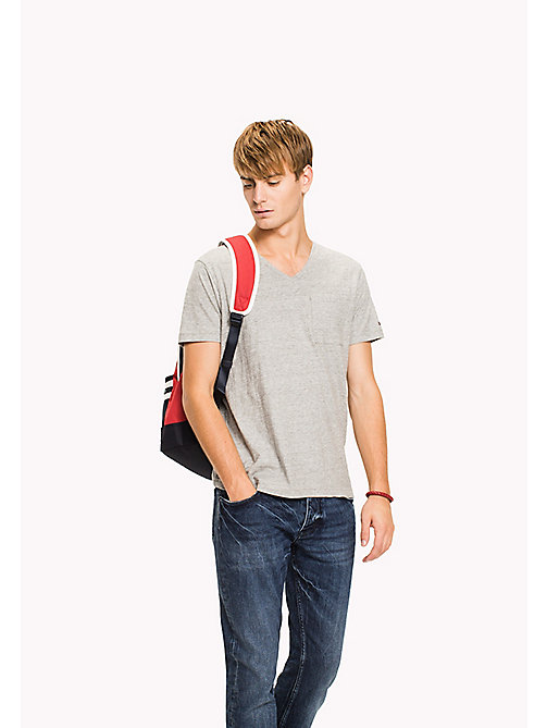 TOMMY HILFIGER Heathered V-Neck Regular Fit T-Shirt - GRAY VIOLET HTR - TOMMY HILFIGER Clothing - main image