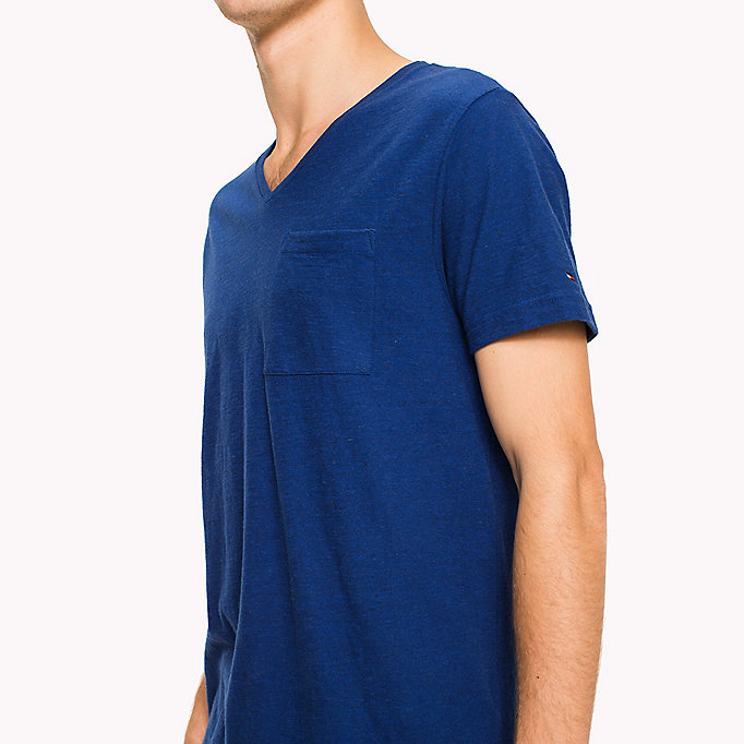TOMMY HILFIGER Heathered V-Neck Regular Fit T-Shirt - REGATTA HTR - TOMMY HILFIGER Men - detail image 2