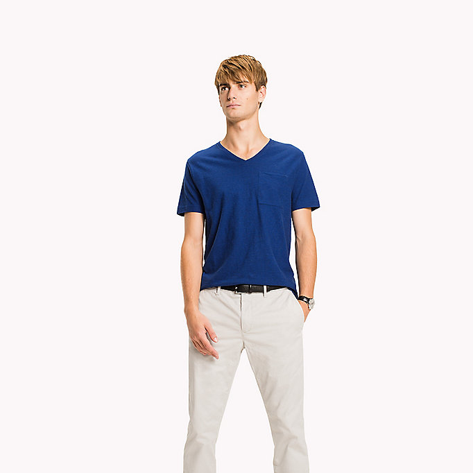 TOMMY HILFIGER Heathered V-Neck Regular Fit T-Shirt - REGATTA HTR - TOMMY HILFIGER Men - main image