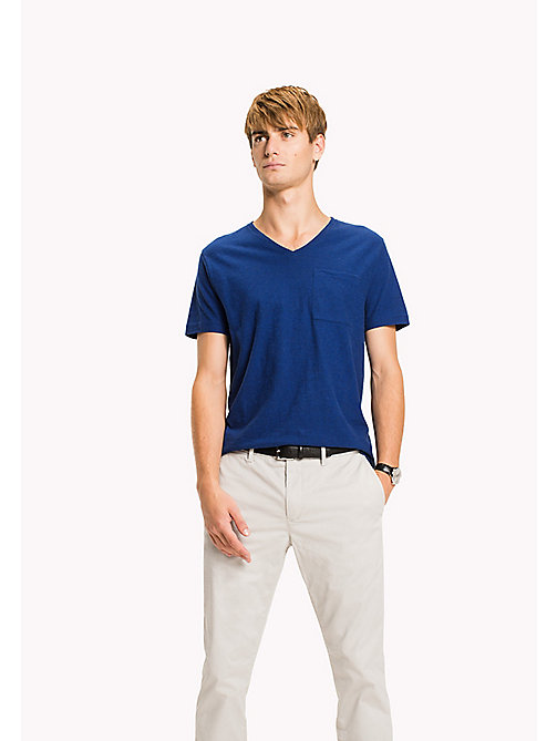 TOMMY HILFIGER Heathered V-Neck Regular Fit T-Shirt - SODALITE BLUE HTR - TOMMY HILFIGER Clothing - main image