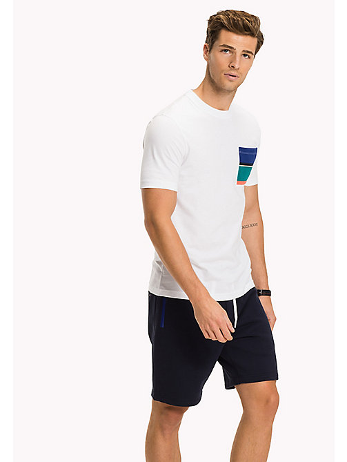 TOMMY HILFIGER Stripe Pocket Cotton T-Shirt - BRIGHT WHITE - TOMMY HILFIGER Vacation Style - main image