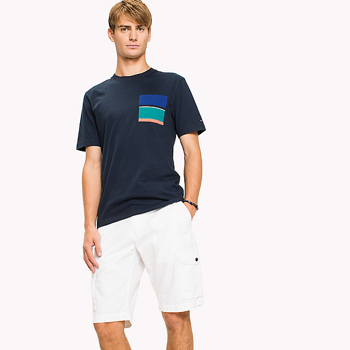 TOMMY HILFIGER Stripe Pocket Cotton T-Shirt - BRIGHT WHITE - TOMMY HILFIGER Clothing - main image