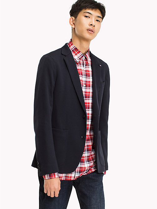 TOMMY HILFIGER Cotton Blend Slim Fit Blazer - SKY CAPTAIN - TOMMY HILFIGER Clothing - main image