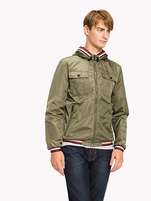 TOMMY HILFIGER Hooded Nylon Zip-Thru Jacket - FOUR LEAF CLOVER - TOMMY HILFIGER Clothing - main image