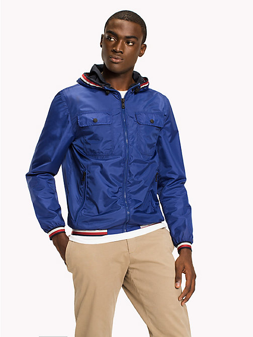 TOMMY HILFIGER Hooded Nylon Zip-Thru Jacket - SODALITE BLUE - TOMMY HILFIGER Men - main image