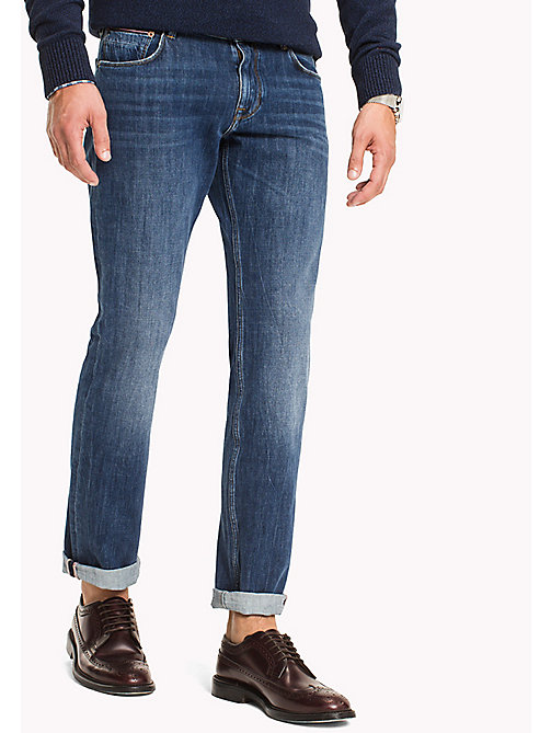 TOMMY HILFIGER Denton Straight Fit Accent Jeans - AVONDALE INDIGO - TOMMY HILFIGER Straight-Fit Jeans - main image
