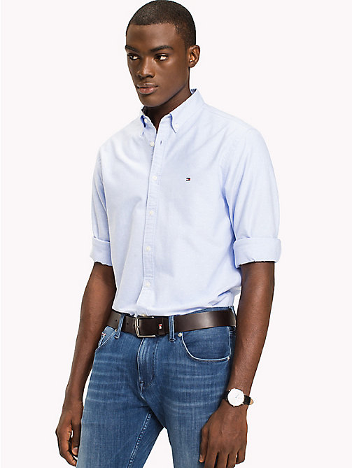 Diamond Slim Fit Shirt - SHIRT BLUE / BRIGHT WHITE -  Clothing - detail image 1