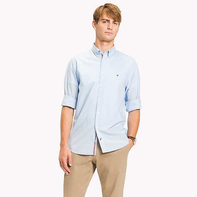 TOMMY HILFIGER Lightweight Woven Cotton Shirt - BRIGHT WHITE - TOMMY HILFIGER Men - detail image 1