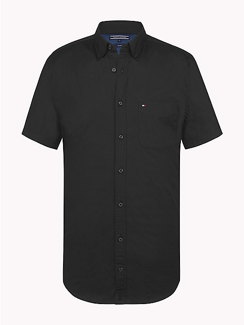 TOMMY HILFIGER Short Sleeve Cotton Shirt - JET BLACK - TOMMY HILFIGER Casual Shirts - main image
