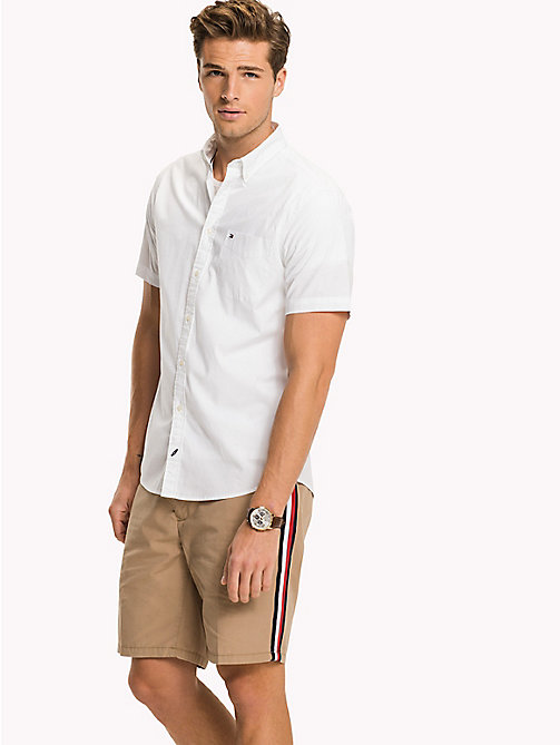TOMMY HILFIGER Short Sleeve Cotton Shirt - BRIGHT WHITE - TOMMY HILFIGER Casual Shirts - detail image 1