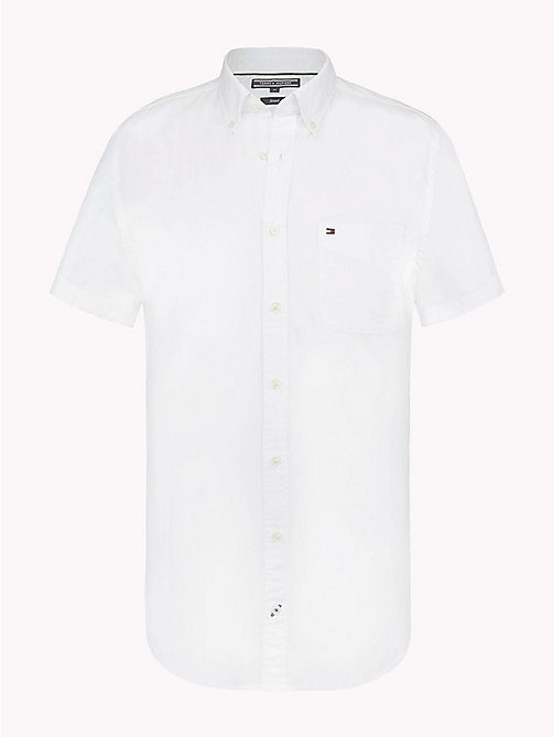 TOMMY HILFIGER Short Sleeve Cotton Shirt - BRIGHT WHITE - TOMMY HILFIGER Vacation Style - main image