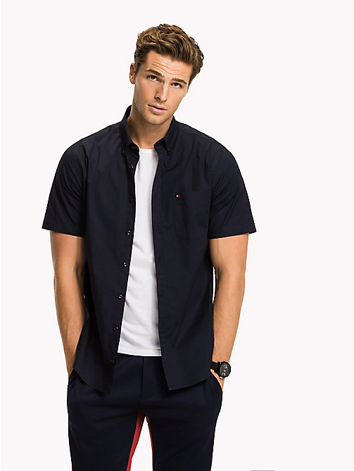 TOMMY HILFIGER Short Sleeve Cotton Shirt - NAVY BLAZER - TOMMY HILFIGER Casual Shirts - detail image 1