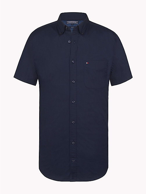 TOMMY HILFIGER Short Sleeve Cotton Shirt - NAVY BLAZER - TOMMY HILFIGER Casual Shirts - main image